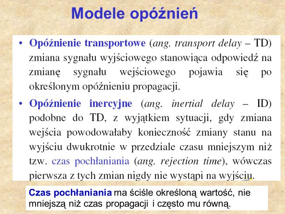 39 Modele opóźnień Czas pochłaniania ma ściśle określoną wartość, nie mniejszą niż czas propagacji i często mu równą.
