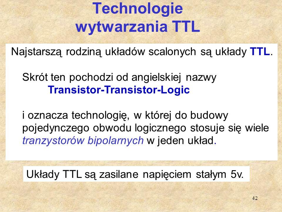 42 Technologie wytwarzania TTL Najstarszą rodziną układów scalonych są układy TTL. Skrót ten pochodzi od angielskiej nazwy Transistor-Transistor-Logic