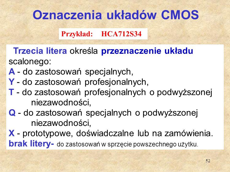 52 Oznaczenia układów CMOS Trzecia litera określa przeznaczenie układu scalonego: A - do zastosowań specjalnych, Y - do zastosowań profesjonalnych, T