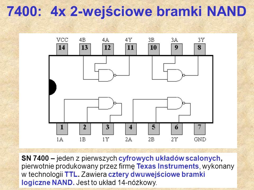 58 7400: 4x 2-wejściowe bramki NAND SN 7400 – jeden z pierwszych cyfrowych układów scalonych, pierwotnie produkowany przez firmę Texas Instruments, wy