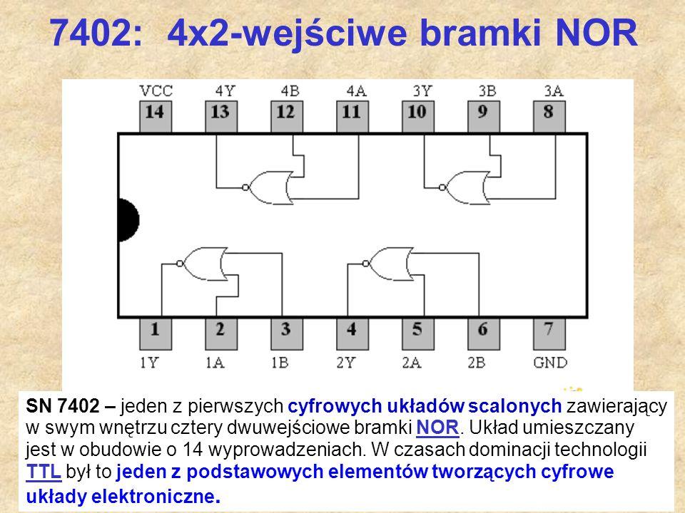 59 7402: 4x2-wejściwe bramki NOR SN 7402 – jeden z pierwszych cyfrowych układów scalonych zawierający w swym wnętrzu cztery dwuwejściowe bramki NOR. U