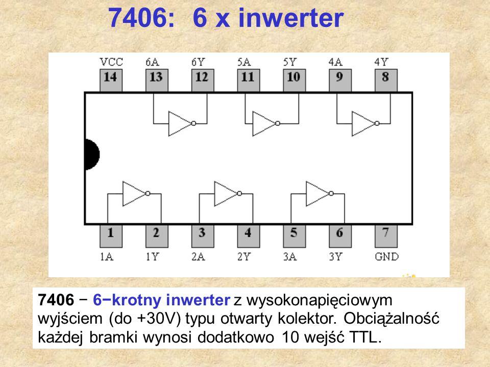 60 7406: 6 x inwerter 7406 − 6−krotny inwerter z wysokonapięciowym wyjściem (do +30V) typu otwarty kolektor. Obciążalność każdej bramki wynosi dodatko