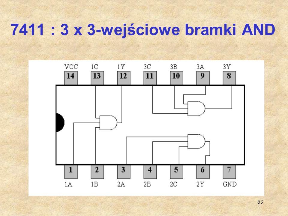 63 7411 : 3 x 3-wejściowe bramki AND