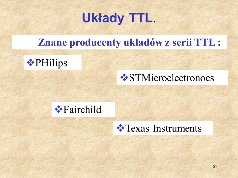 67 Układy TTL. Znane producenty układów z serii TTL :  PHilips  STMicroelectronocs  Fairchild  Texas Instruments