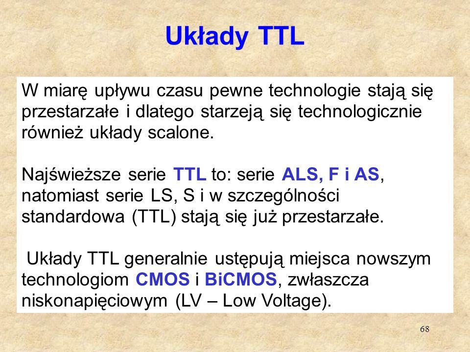 68 Układy TTL W miarę upływu czasu pewne technologie stają się przestarzałe i dlatego starzeją się technologicznie również układy scalone. Najświeższe