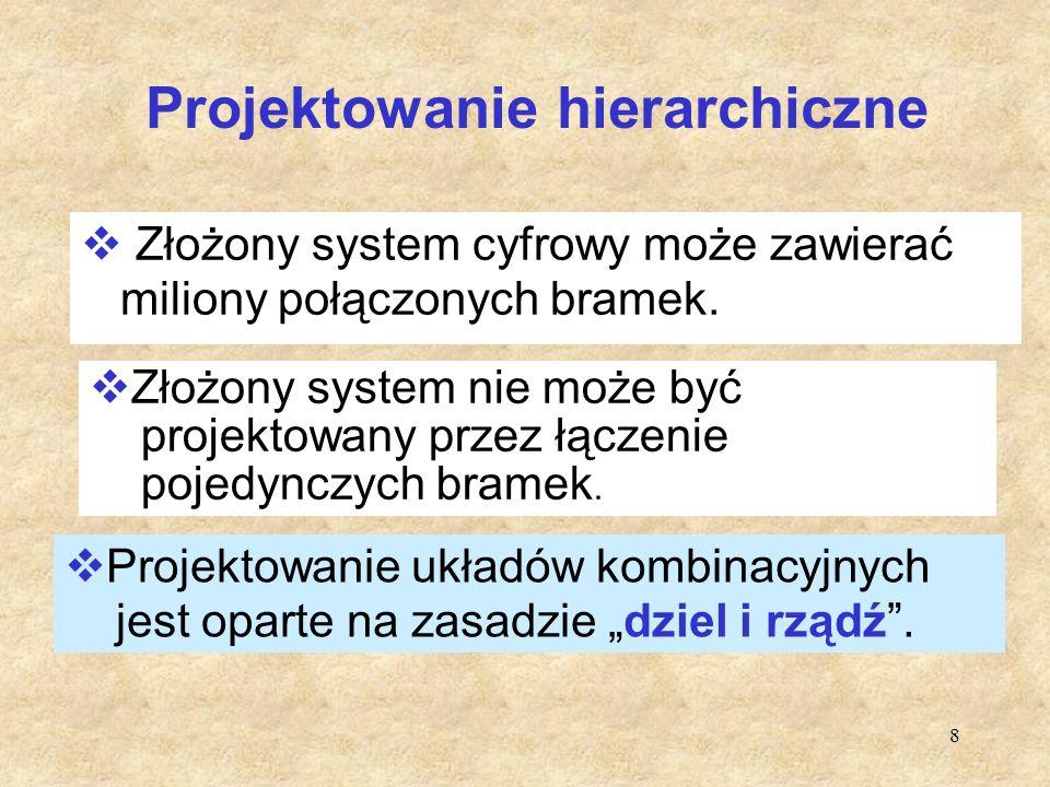 8 Projektowanie hierarchiczne  Złożony system cyfrowy może zawierać miliony połączonych bramek.  Projektowanie układów kombinacyjnych jest oparte na