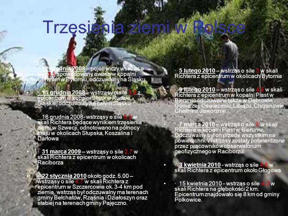 Trzęsienia ziemi w Polsce · 12 grudnia 2008 – pojedynczy wstrząs o sile 3,5 spowodowany awarią w kopalni Centrum w Bytomiu, odczuwalny na Śląsku · 15