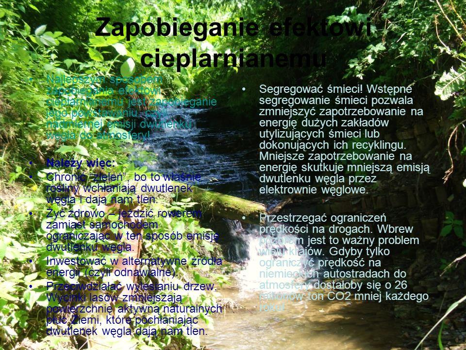 Zapobieganie efektowi cieplarnianemu Najlepszym sposobem zapobiegania efektowi cieplarnianemu jest zapobieganie jego powstawaniu, czyli nadmiernej emi
