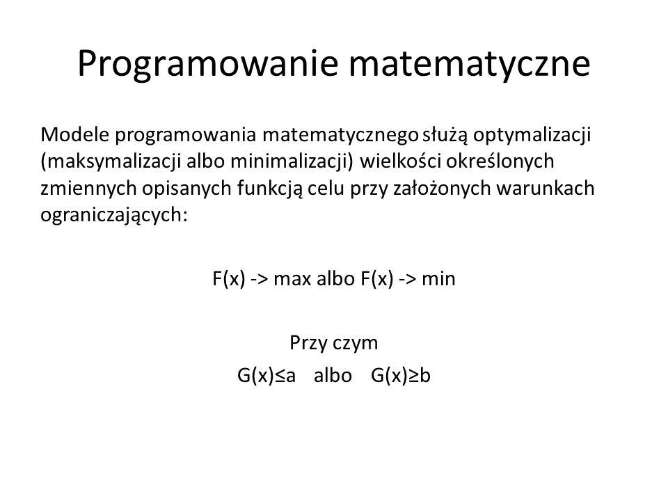 Programowanie matematyczne Modele programowania matematycznego służą optymalizacji (maksymalizacji albo minimalizacji) wielkości określonych zmiennych