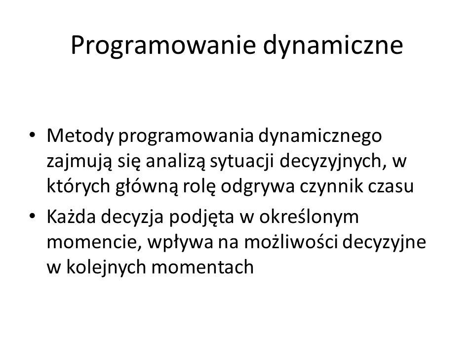 Programowanie dynamiczne Metody programowania dynamicznego zajmują się analizą sytuacji decyzyjnych, w których główną rolę odgrywa czynnik czasu Każda