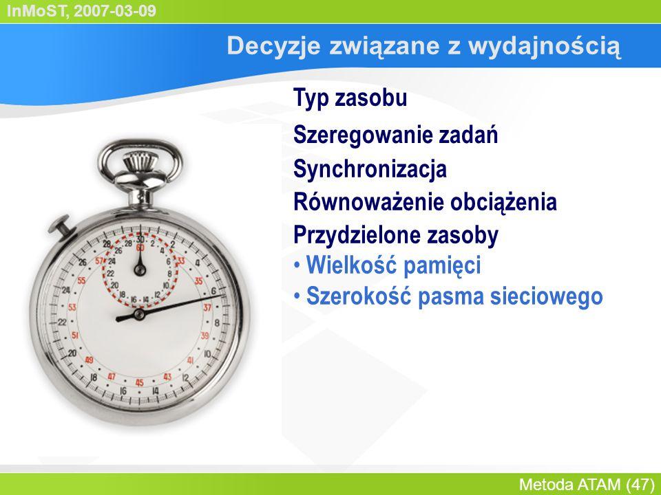 InMoST, 2007-03-09 Metoda ATAM (48) Decyzje wpływające na dostępność Nadmiarowość sprzętowa Nadmiarowość programowa Orzekanie Ponawianie Układ alarmowy