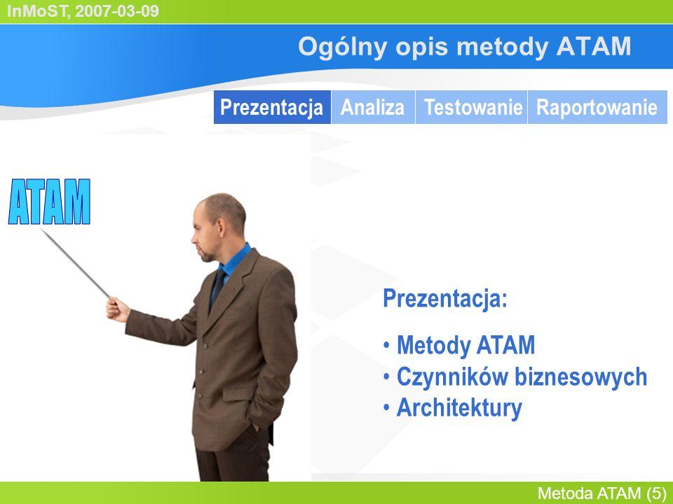 InMoST, 2007-03-09 Metoda ATAM (6) Ogólny opis metody ATAM PrezentacjaAnalizaTestowanieRaportowanie Prezentacja: Metoda ATAM Czynniki biznesowe Architektura Lider oceny
