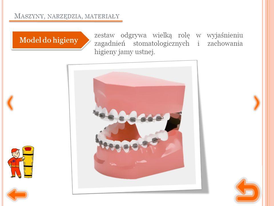 M ASZYNY, NARZĘDZIA, MATERIAŁY zestaw odgrywa wielką rolę w wyjaśnieniu zagadnień stomatologicznych i zachowania higieny jamy ustnej.