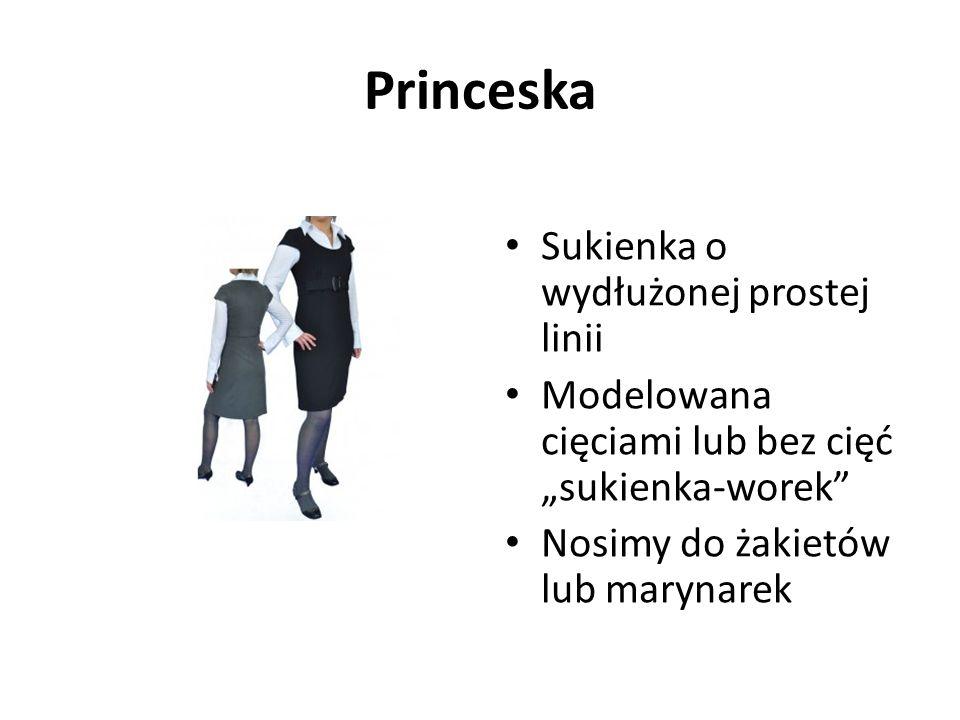 """Princeska Sukienka o wydłużonej prostej linii Modelowana cięciami lub bez cięć """"sukienka-worek Nosimy do żakietów lub marynarek"""