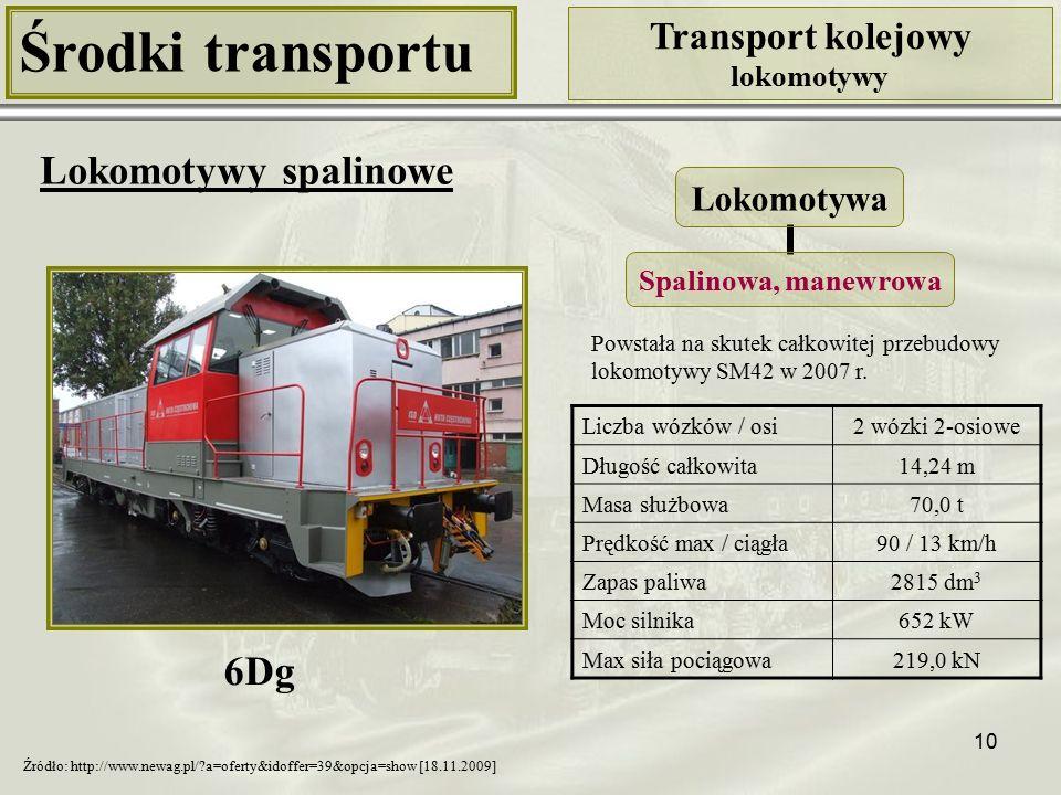 10 Środki transportu Transport kolejowy lokomotywy Lokomotywy spalinowe Liczba wózków / osi2 wózki 2-osiowe Długość całkowita14,24 m Masa służbowa70,0 t Prędkość max / ciągła90 / 13 km/h Zapas paliwa2815 dm 3 Moc silnika652 kW Max siła pociągowa219,0 kN Lokomotywa Spalinowa, manewrowa 6Dg Źródło: http://www.newag.pl/?a=oferty&idoffer=39&opcja=show [18.11.2009] Powstała na skutek całkowitej przebudowy lokomotywy SM42 w 2007 r.