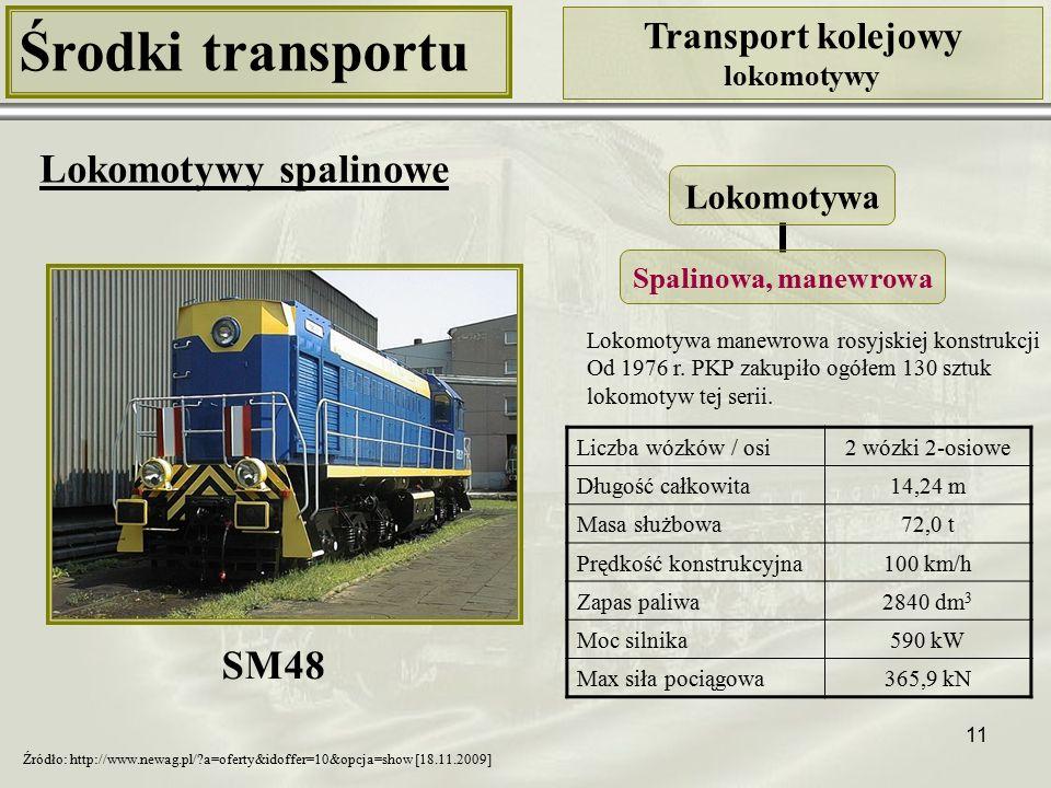 11 Środki transportu Transport kolejowy lokomotywy Lokomotywy spalinowe Liczba wózków / osi2 wózki 2-osiowe Długość całkowita14,24 m Masa służbowa72,0 t Prędkość konstrukcyjna100 km/h Zapas paliwa2840 dm 3 Moc silnika590 kW Max siła pociągowa365,9 kN Lokomotywa Spalinowa, manewrowa SM48 Źródło: http://www.newag.pl/?a=oferty&idoffer=10&opcja=show [18.11.2009] Lokomotywa manewrowa rosyjskiej konstrukcji Od 1976 r.