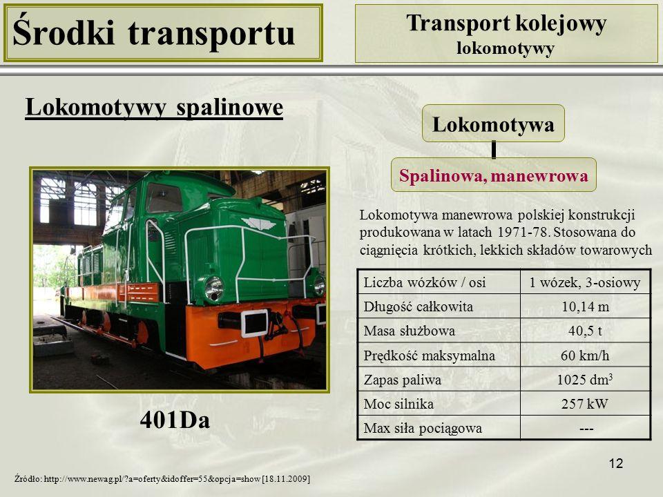 12 Środki transportu Transport kolejowy lokomotywy Lokomotywy spalinowe Liczba wózków / osi1 wózek, 3-osiowy Długość całkowita10,14 m Masa służbowa40,5 t Prędkość maksymalna60 km/h Zapas paliwa1025 dm 3 Moc silnika257 kW Max siła pociągowa --- Lokomotywa Spalinowa, manewrowa 401Da Źródło: http://www.newag.pl/?a=oferty&idoffer=55&opcja=show [18.11.2009] Lokomotywa manewrowa polskiej konstrukcji produkowana w latach 1971-78.