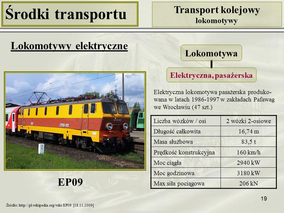 19 Środki transportu Transport kolejowy lokomotywy Lokomotywy elektryczne Liczba wózków / osi2 wózki 2-osiowe Długość całkowita16,74 m Masa służbowa83,5 t Prędkość konstrukcyjna160 km/h Moc ciągła2940 kW Moc godzinowa3180 kW Max siła pociągowa206 kN Lokomotywa Elektryczna, pasażerska Źródło: http://pl.wikipedia.org/wiki/EP09 [18.11.2009] Elektryczna lokomotywa pasażerska produko- wana w latach 1986-1997 w zakładach Pafawag we Wrocławiu (47 szt.) EP09