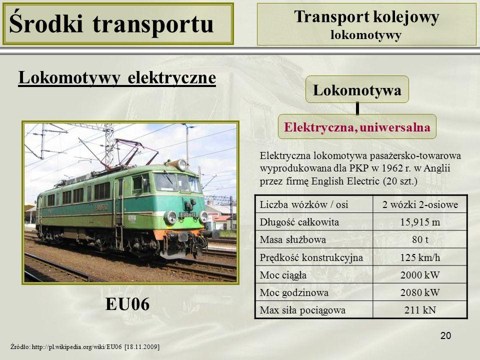 20 Środki transportu Transport kolejowy lokomotywy Lokomotywy elektryczne Liczba wózków / osi2 wózki 2-osiowe Długość całkowita15,915 m Masa służbowa80 t Prędkość konstrukcyjna125 km/h Moc ciągła2000 kW Moc godzinowa2080 kW Max siła pociągowa211 kN Lokomotywa Elektryczna, uniwersalna Źródło: http://pl.wikipedia.org/wiki/EU06 [18.11.2009] Elektryczna lokomotywa pasażersko-towarowa wyprodukowana dla PKP w 1962 r.