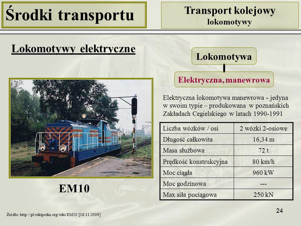 24 Środki transportu Transport kolejowy lokomotywy Lokomotywy elektryczne Liczba wózków / osi2 wózki 2-osiowe Długość całkowita16,34 m Masa służbowa72 t Prędkość konstrukcyjna80 km/h Moc ciągła960 kW Moc godzinowa--- Max siła pociągowa250 kN Lokomotywa Elektryczna, manewrowa Źródło: http://pl.wikipedia.org/wiki/EM10 [18.11.2009] Elektryczna lokomotywa manewrowa - jedyna w swoim typie – produkowana w poznańskich Zakładach Cegielskiego w latach 1990-1991 EM10