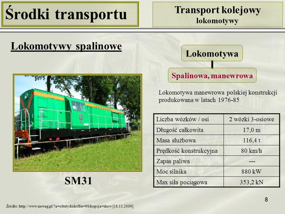 8 Środki transportu Transport kolejowy lokomotywy Lokomotywy spalinowe Liczba wózków / osi2 wózki 3-osiowe Długość całkowita17,0 m Masa służbowa116,4 t Prędkość konstrukcyjna80 km/h Zapas paliwa --- Moc silnika880 kW Max siła pociągowa353,2 kN Lokomotywa Spalinowa, manewrowa SM31 Źródło: http://www.newag.pl/?a=oferty&idoffer=98&opcja=show [18.11.2009] Lokomotywa manewrowa polskiej konstrukcji produkowana w latach 1976-85
