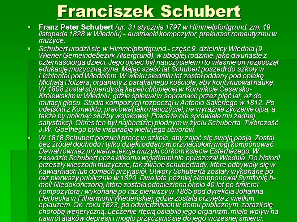 Franciszek Schubert  Franz Peter Schubert (ur. 31 stycznia 1797 w Himmelpfortgrund, zm.