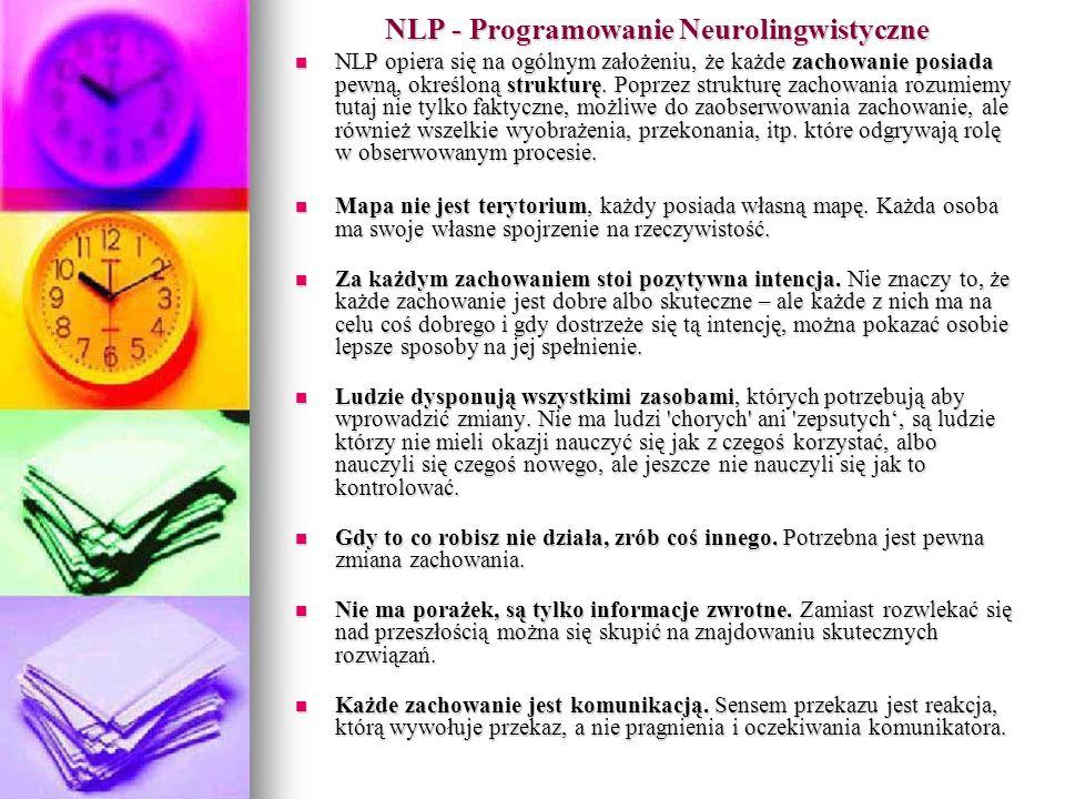 NLP - Programowanie Neurolingwistyczne NLP opiera się na ogólnym założeniu, że każde zachowanie posiada pewną, określoną strukturę.