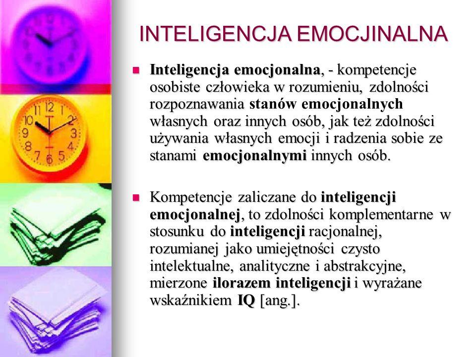 Trzy główne modele inteligencji emocjonalnej Według Daniela Golemana inteligencja emocjonalna obejmuje zdolność rozumienia siebie i własnych emocji, kierowania i kontrolowania ich, zdolność samomotywacji, empatię oraz umiejętności o charakterze społecznym.