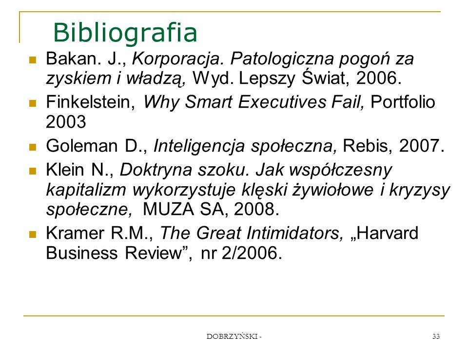 DOBRZYŃSKI - 33 Bibliografia Bakan. J., Korporacja.