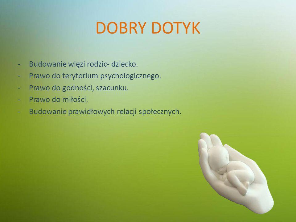 DOBRY DOTYK -Budowanie więzi rodzic- dziecko. -Prawo do terytorium psychologicznego.