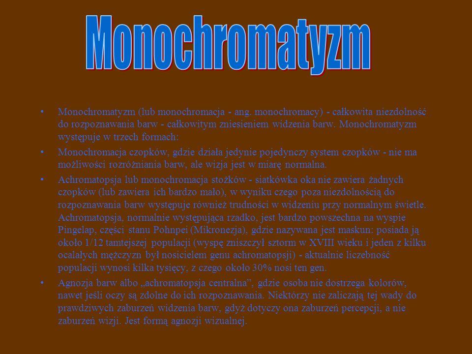 Monochromatyzm (lub monochromacja - ang. monochromacy) - całkowita niezdolność do rozpoznawania barw - całkowitym zniesieniem widzenia barw. Monochrom