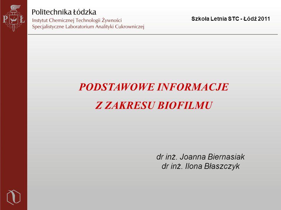 Szkoła Letnia STC - Łódź 2011 PODSTAWOWE INFORMACJE Z ZAKRESU BIOFILMU dr inż.