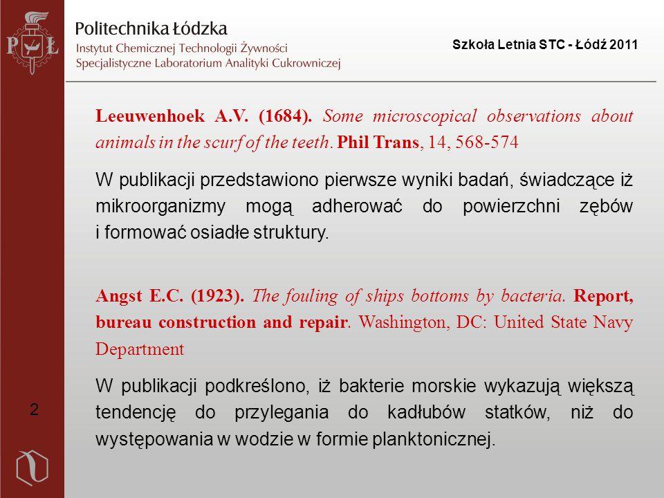Szkoła Letnia STC - Łódź 2011 1.Największy wpływ na powstawanie biofilmów mają wydzielane przez komórkę zewnątrzkomórkowe biopolimery (EPS), które obejmują różne klasy makromolekuł, takie jak: białka, polisacharydy, kwasy nukleinowe czy fosfolipidy.