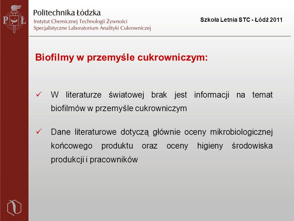 Szkoła Letnia STC - Łódź 2011 Biofilmy w przemyśle cukrowniczym: W literaturze światowej brak jest informacji na temat biofilmów w przemyśle cukrowniczym Dane literaturowe dotyczą głównie oceny mikrobiologicznej końcowego produktu oraz oceny higieny środowiska produkcji i pracowników