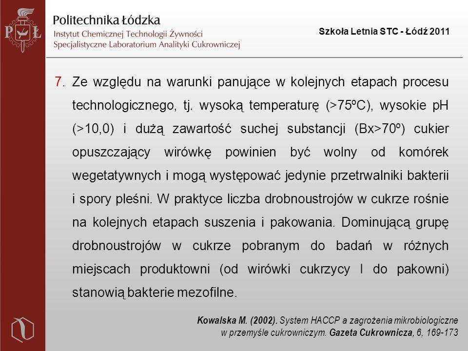 Szkoła Letnia STC - Łódź 2011 7.Ze względu na warunki panujące w kolejnych etapach procesu technologicznego, tj.