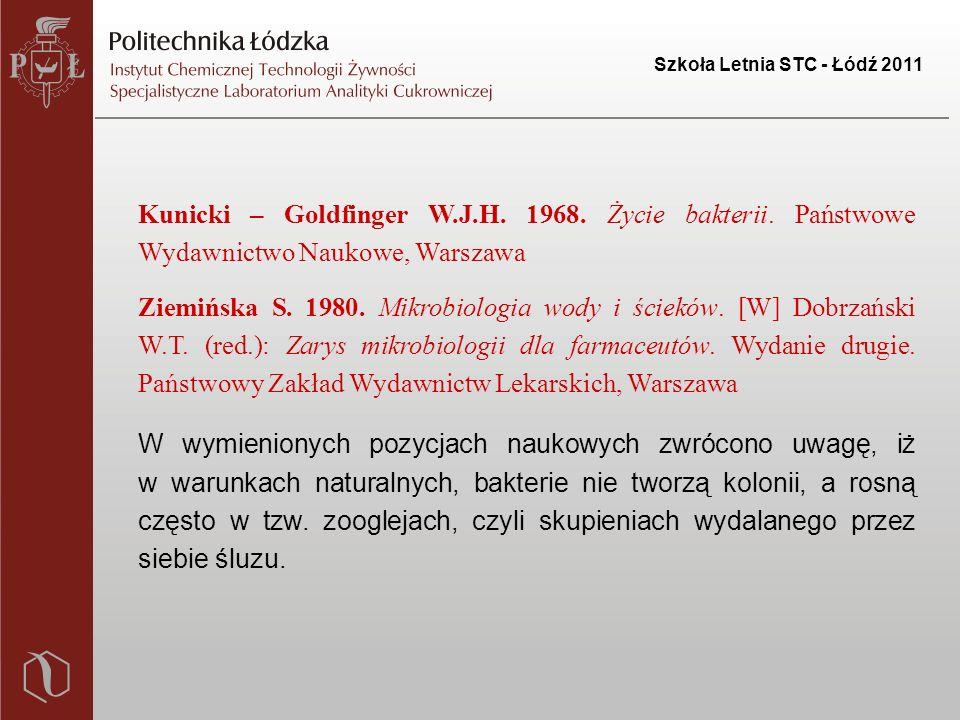 """Szkoła Letnia STC - Łódź 2011 akumulacja na powierzchni komórki w postaci śluzu lub wydzielanie do podłoża wypełnianie pustych przestrzeni między komórkami mikroorganizmów zabezpieczanie komórek przed destrukcyjnym działaniem osmotycznych i oksydatywnych czynników, w tym środków dezynfekcyjnych Polisacharydy: Białka: uwolnienie do roztworu – utworzenie warstwy kondycjonującej wzrost koncentracji białek – I etap adhezji sekrecja białek in situ – nasilenie adhezji i stabilne """"zakotwiczenie komórek do powierzchni docelowej adsorbcja na powierzchni związków toksycznych i zapobieganie ich dyfuzji do cytoplazmy"""
