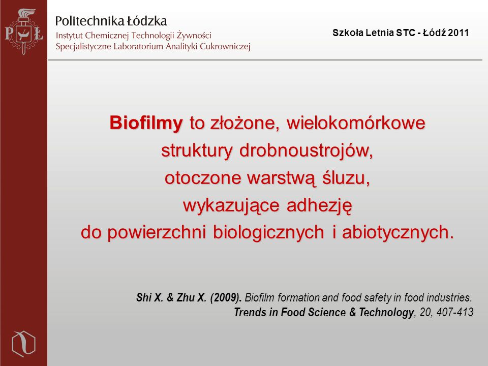 Szkoła Letnia STC - Łódź 2011 Biofilmy – zagrożenie w wielu gałęziach gospodarki 1.Praktyka medyczna Zakażenia u pacjentów adhezja drobnoustrojów do przyrządów i materiałów syntetycznych tj.