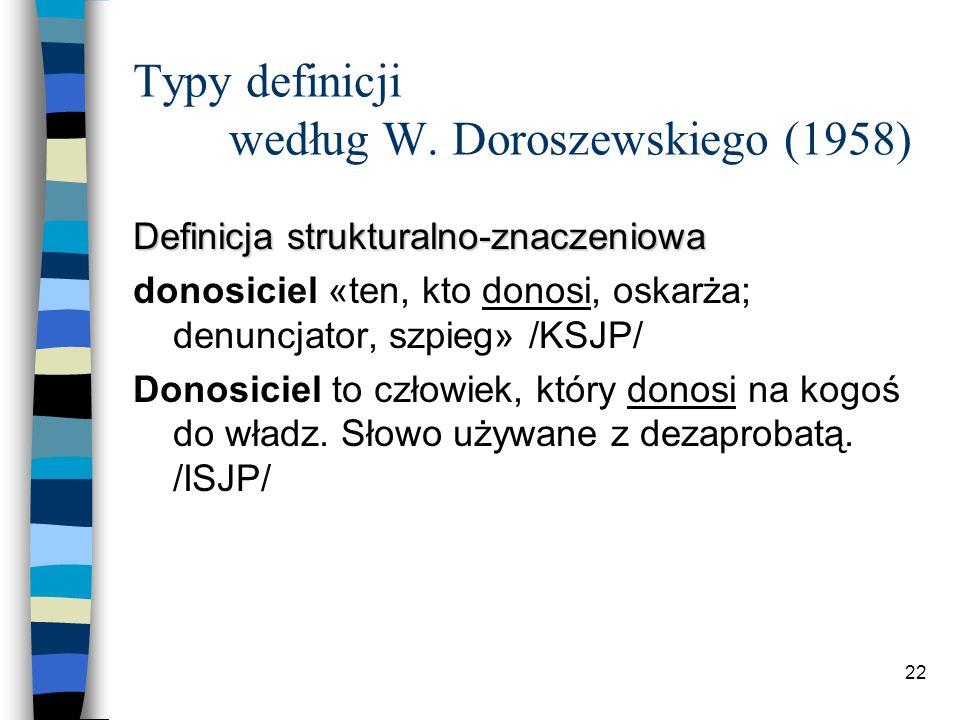 21 Typy definicji według W. Doroszewskiego (1958) Definicja realnoznaczeniowa pole 1.