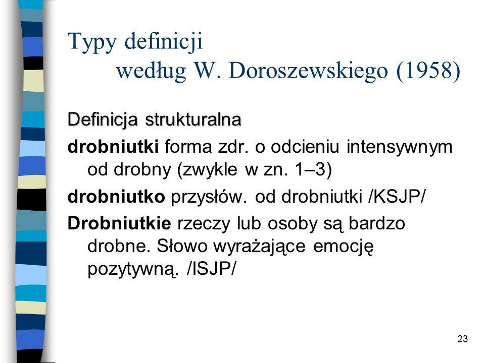 22 Typy definicji według W.