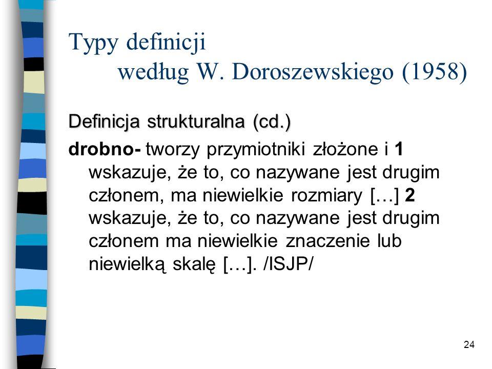 23 Typy definicji według W. Doroszewskiego (1958) Definicja strukturalna drobniutki forma zdr.