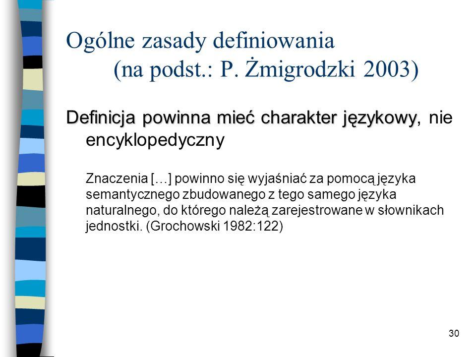 29 Typy definicji według W. Doroszewskiego (1958) Definicja gramatyczna (cd.) 3.