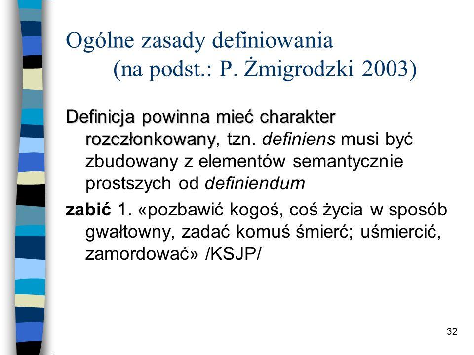 31 Ogólne zasady definiowania (na podst.: P.