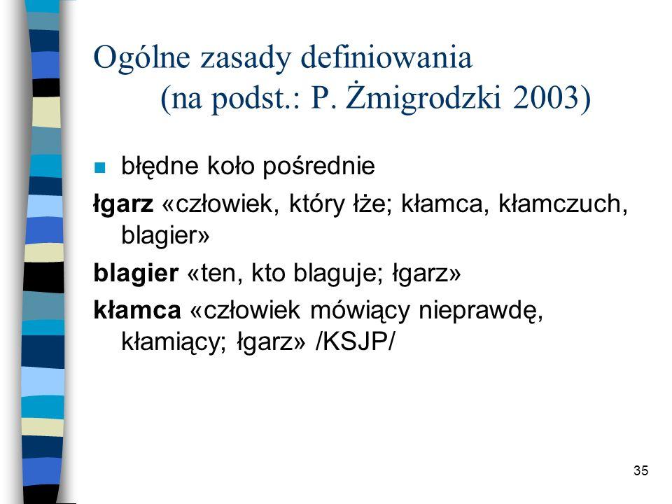 34 Ogólne zasady definiowania (na podst.: P.