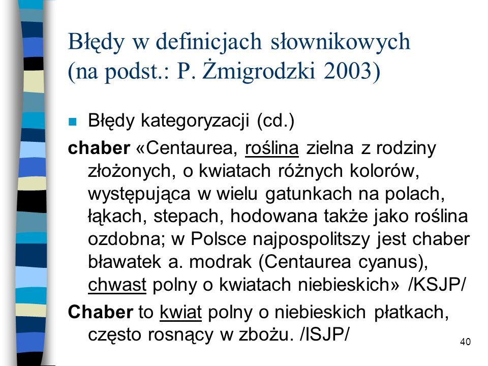 39 Błędy w definicjach słownikowych (na podst.: P.