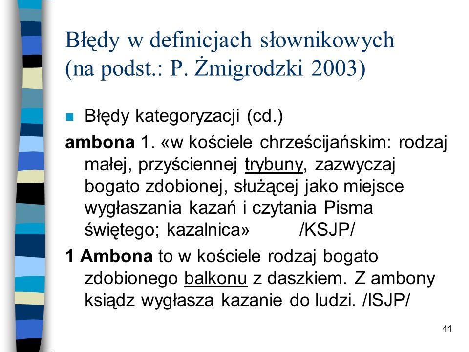 40 Błędy w definicjach słownikowych (na podst.: P.