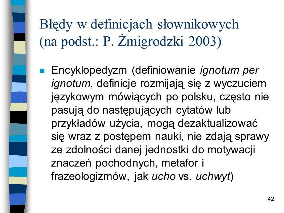 41 Błędy w definicjach słownikowych (na podst.: P.
