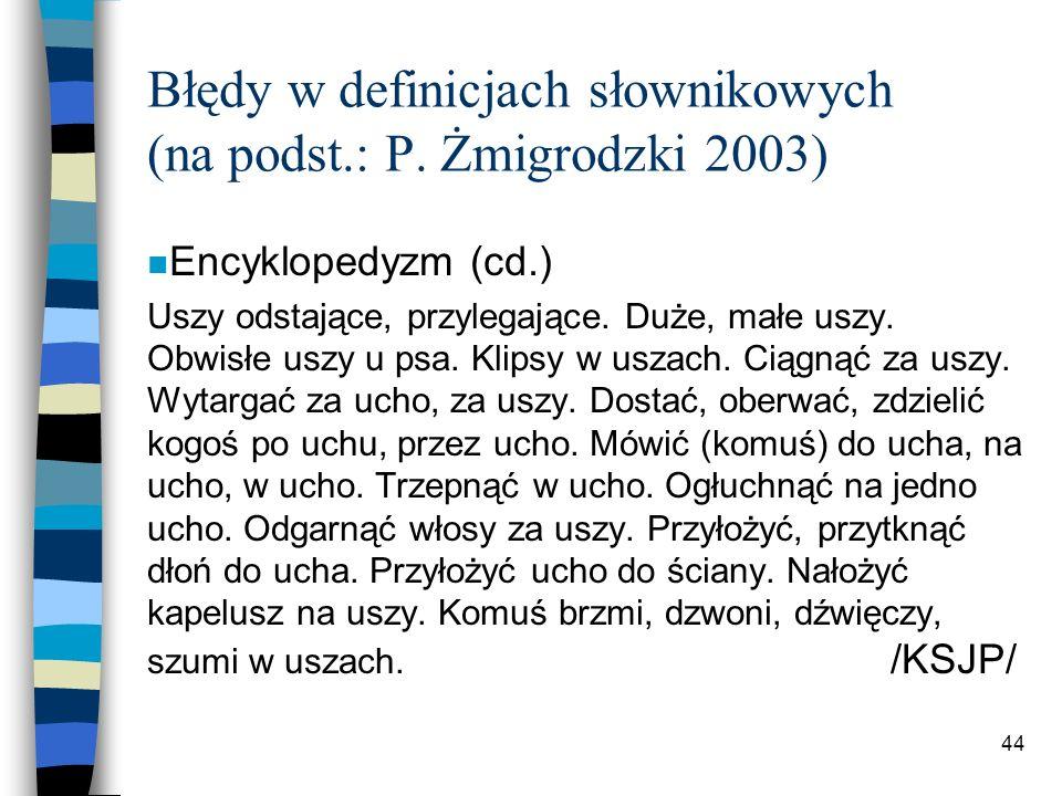 43 Błędy w definicjach słownikowych (na podst.: P.