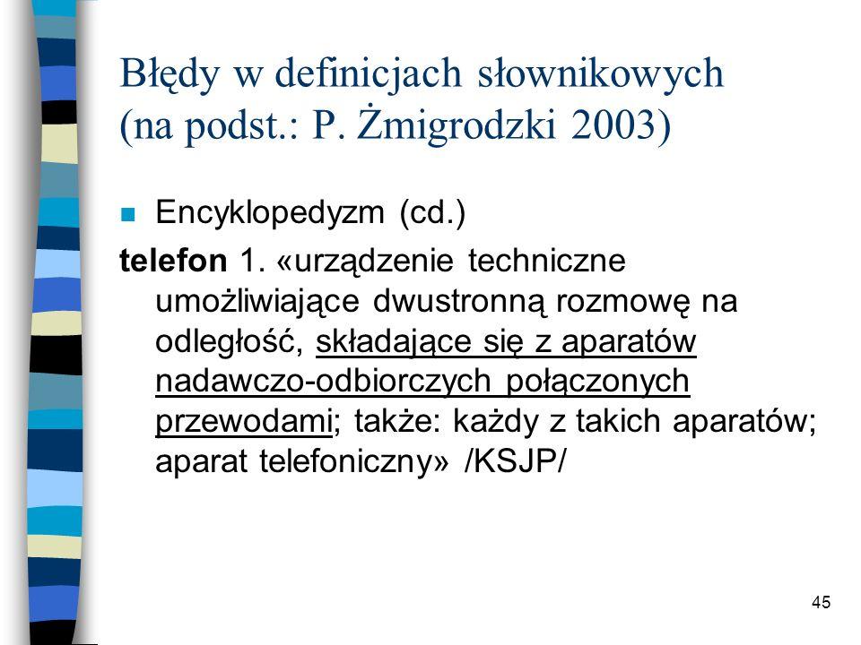44 Błędy w definicjach słownikowych (na podst.: P.