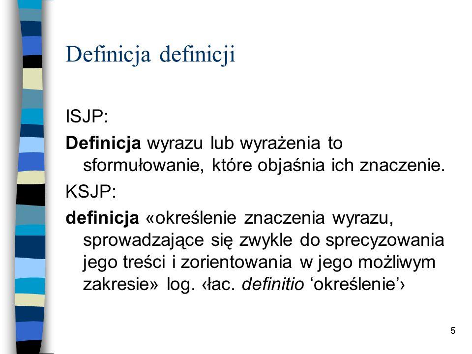 5 Definicja definicji ISJP: Definicja wyrazu lub wyrażenia to sformułowanie, które objaśnia ich znaczenie.
