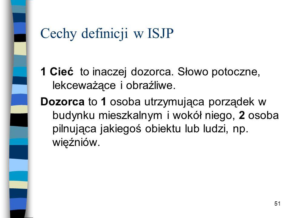 50 Cechy definicji w ISJP Analityczność Analityczność pozwala unikać błędnych kół i definicji synonimicznych, które pojawiają się tylko w przypadku wyrazów nacechowanych.
